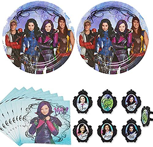 Disney Descendants Party Supplies Pack for 12-16 guests - plates and napkins plus cupcake rings