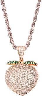 Gioielli Moca Ghiacciati Pendente Color Pesca Peach Collana placcata in Oro 18k con Diamante simulato Bling CZ per Uomo Donna