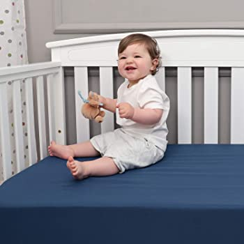 "TILLYOU Microfiber Silky Soft Crib Sheet Navy, Breathable Cozy Toddler Mattress Sheet Fitted, 28""x 52""x 8'' Baby Shee..."