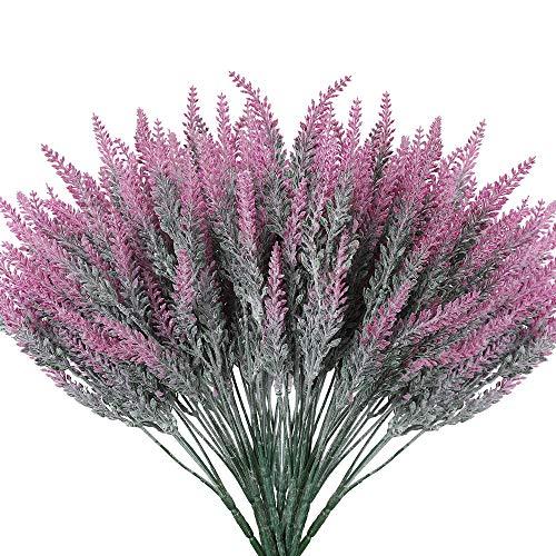 Floweroyal Ramo de Flores de Lavanda Artificial 8 Piezas de Plantas Falsas Ramo de Novia para la decoración de la Boda Decoración del Patio del jardín del hogar(Fucsia).