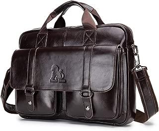 Men Leather Messenger Bag 15 inch Waterproof Laptop Satchel Bags Genuine Leather Large Crossbody Shoulder Bags