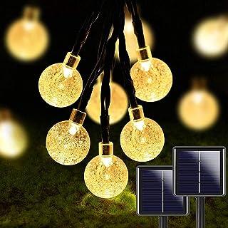 2 peças de 50 lâmpadas de LED de 91 m, globo de cristal para ambientes externos, luzes solares IP65 à prova d'água com 8 m...