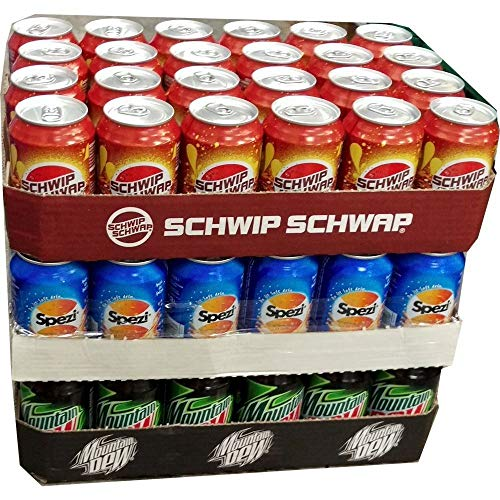 Schwip Schwap, Spezi & Mountain Dew Classic je 24 x 0,33l Dose XXL-Paket (72 Dosen gesamt)