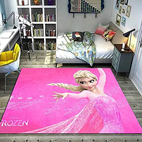 GOOCO Alfombra Frozen Anime Chica Dormitorio Alfombrilla Habitación para niños Alfombra Antideslizante Princesa de Dibujos Animados, Dormitorio para Niños
