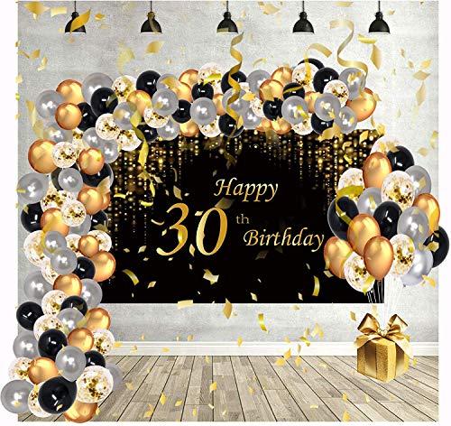 Decoration Anniversaire Ballon Cadeau Arche Deco Happy Birthday Kit Lettre Banderole Joyeux Confettis 30 Toile de Or Maman Noir Chiffre Baudruche Femme pour Accessoires Homme Fete Adulte Gonflable