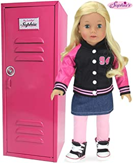 Sophia's Larger Than Most, 18 Inch Doll Clothes Locker for American Girl Doll Rooms & More! 18 Inch Doll Furniture of Pink Metal Doll Locker Hot Pink Doll School Locker Measures 6 x 7 x 18 inches