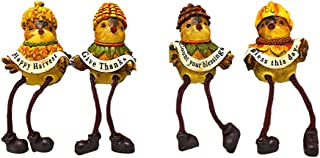 Bird Shelf Sitters Fall Harvest Bless Thanksgiving Figurines Collectibles Ornament Decor Set of 4