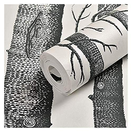 Björk tapeter, naturlig non-woven tapeter, avtagbar dekoration tapeter, för vardagsrum sovrum restaurang TV bakgrundsvägg (0,53x10m)