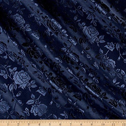 Ben Textiles Rose Satin Jaquard Navy Fabric By The Yard