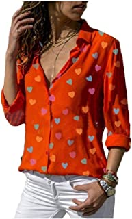 RkYAO Women's Button Down Long Sleeve Printed V-Neck Blouses Tops Shirts