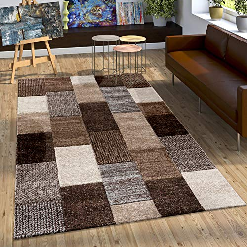 Paco Home Alfombra De Diseño con Contorno Cuadriculada En Marrón, Beige Gris Y Crema, tamaño:160x230 cm