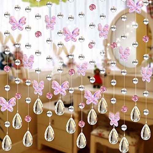 SUNERLORY Cortina Cristal Brillante Brillo Cadena Sala Ventana Mariposa Decoración para el hogar Divisor DIY con Cuentas(Rosa)