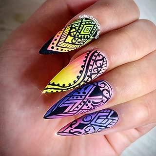 12 sets Black lace lingerie fishnet NAIL DECALS nail art stickers TRIBAL floral geometry mandala mehndi paisley bohemian flower child hippie butterfly nail wraps nail vinyls nail tattoo water transfer
