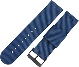 22mm 24mm Blue High-end NATO Style Ballistic Nylon Canvas Watch Band Strap Replacement for Men Braided