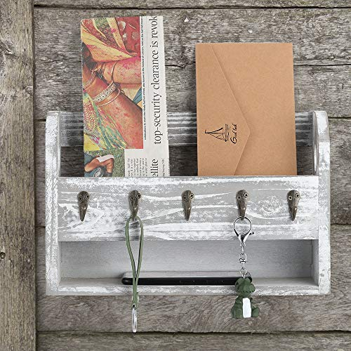 Wood Key and Mail Holder for Wall with 5 Key Hooks and Another Storage Shelf Below Rustic Grey Wooden Mail Organizer Sorter Decorative