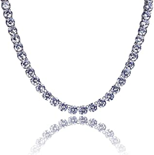 18k Gold Plated 1 Row 8MM Lab Simulated Diamond Iced Out Chain Men's Hiphop Tennis Necklace
