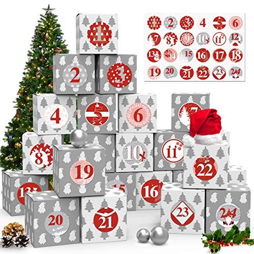 ZOOI Adventskalender zum Befüllen, 24 Adventskalender Geschenkbox, mit Weihnachtlichen Muster Zahlenaufklebern, Adventskalender 2020, für Einen DIY Geschenkschachtel zum Basteln und Befüllen