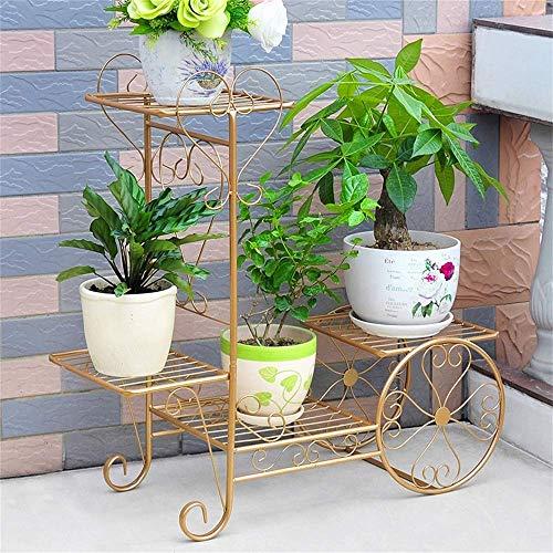 LSNLNN Soporte de la planta, el soporte de hierro forjado de flores, de múltiples capas de la maceta del rack Rose verde colgantes Orquídea Plataforma Balcón Sala de estar cubierta y al aire libre Fl