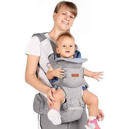 JooBebe Porte-b/éb/é 4 fa/çons de transporter coton gris ergonomique et confortable adapt/é /à la croissance de votre enfant cadeau id/éal