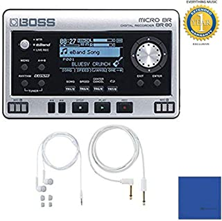 Boss Micro BR BR-80 Digital Recorder with Free BA-PC15 Earphones/Guitar Cable Set with Microfiber and 1 Year Everything Music Extended Warranty