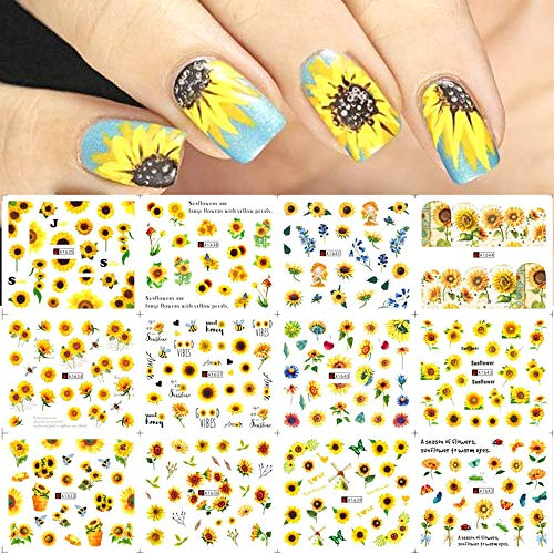 Nail Art Stickers Water Transfer Nail Decals, 12 Sheets Flower Nail Stickers Nail Art Supplies Sunflower Nail Decals Nail Art Accessories Summer Nails Design Kit Sticker for Acrylic Nail Decorations