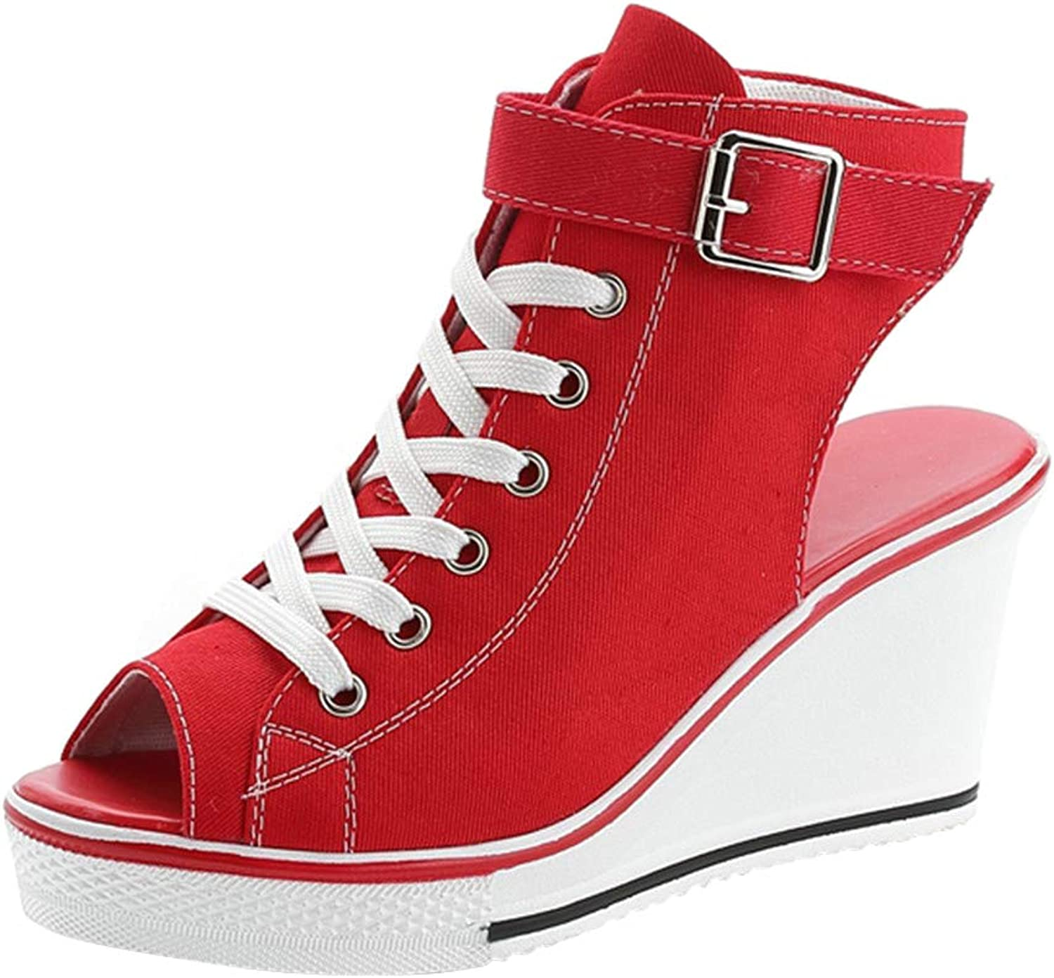 ACE SHOCK High-Heeled Wedges Sneakers Women, Fashion Lace-up Platform Canvas Sandals shoes 2 Kinds 4 colors