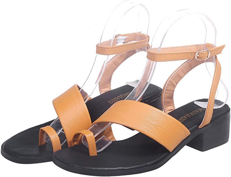 Women's Flat Sandals Elastic Casual Mid Heel Sandals Flexible Open Toes Summer One-line Buckle Slippers Sandals