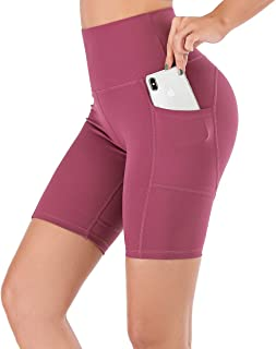 """Lianshp Running Shorts for Women Moisture-Wicking High Waisted Workout Sports Yoga Shorts with Pockets 8"""""""