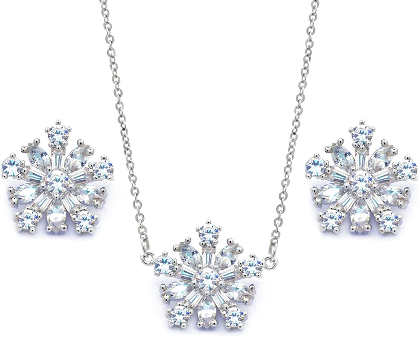 Sparkly Bride Snowflake Jewelry Set Pendant Necklace Matching Stud Earrings CZ Baguette Women Fashion, 16+2in