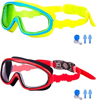 KAILIMENG Kids Swim Goggles Clear Wide View Anti-Fog for Toddlers Youth Child 4-15