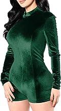 Highdas Frauen Stretch Bodysuit Langarm Top Damen Velet Trikot Bodycon Jumpsuit
