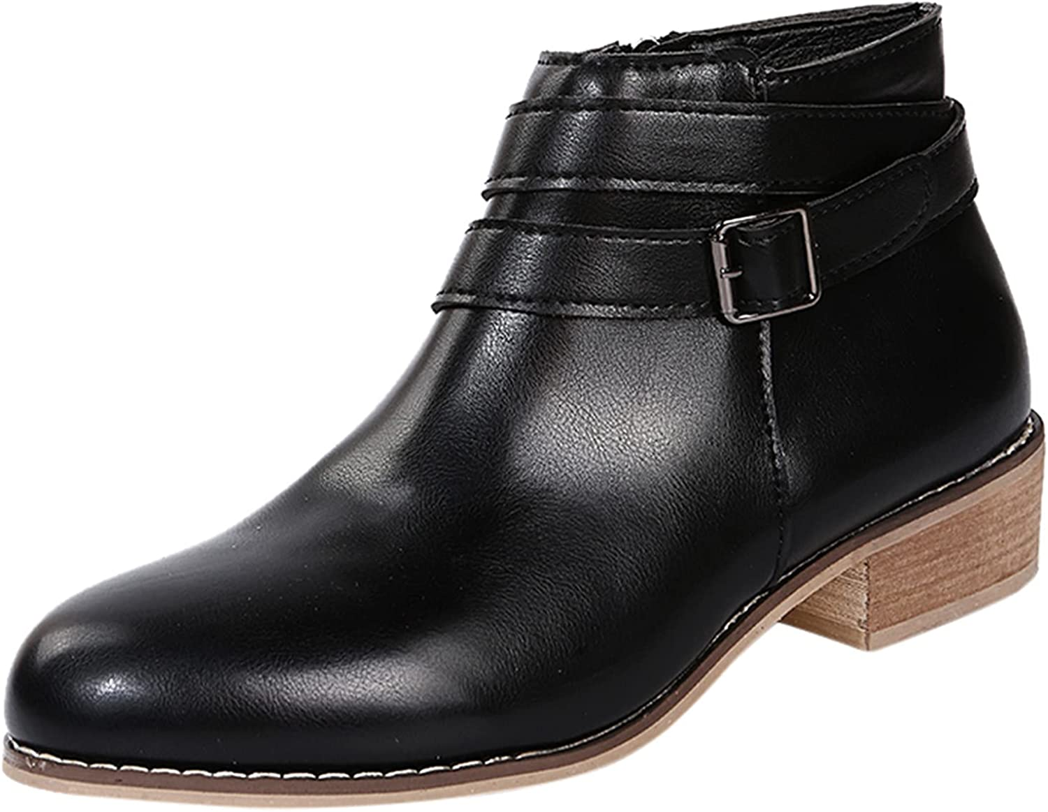 Women's Ankle Boots Non-Slip Solid Color Square Heels Zipper Round Toe Short Booties Shoes