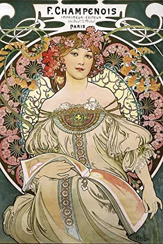 Close Up Alfons Mucha Poster Jugendstil F. Champenois 1897 (61cm x 91,5cm)