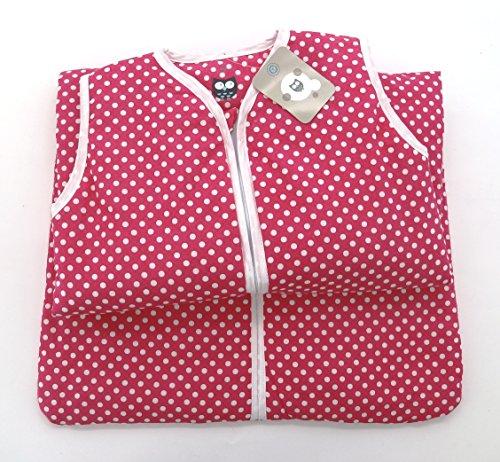 Fashion&Joy Baby Schlafsack aus 100% Baumwolle Punkte in pink 90 cm Babyschlafsack Mädchen leicht gefüttert atmungsaktiv Ganzjahres-Schlafsack Kleinkind rosa Dots Typ373