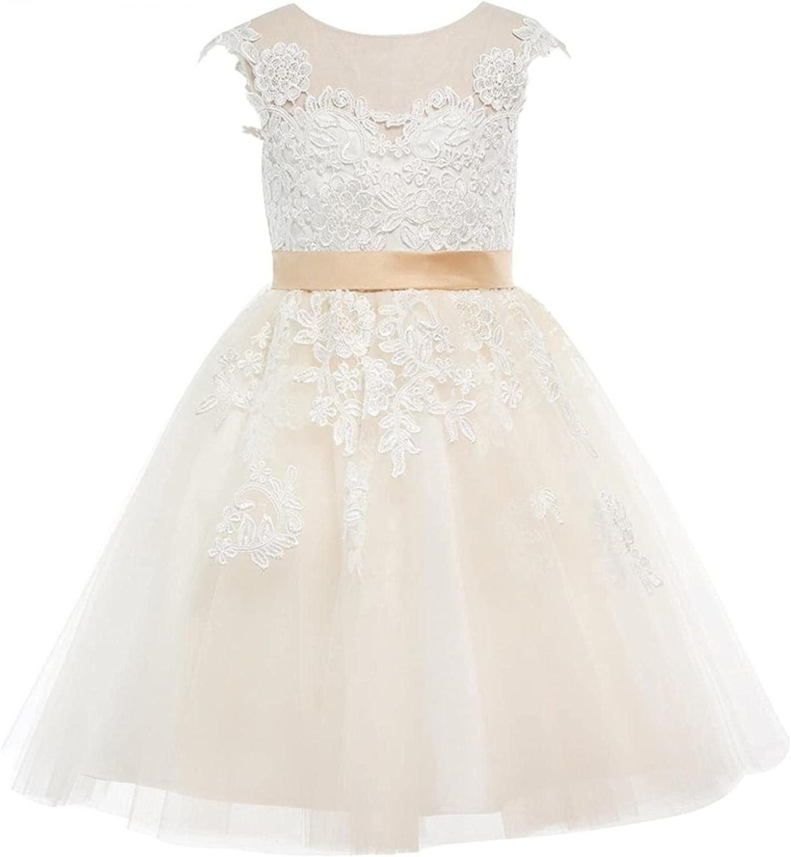 FORESTIME Children's Lace Tulle Wedding Dress Flower Girl Dress Junior Bridesmaid Dress,Cute Birthday Playwear Dress