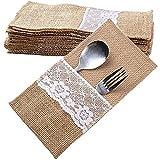 Nephit Juego de utensilios de yute para decoración de mesa de boda y Navidad