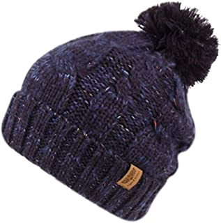 Soft Stretch Chunky Cable Knit Beanie Hat with Pom Pom and Sherpa Fleece Lining Speckled Winter Skully