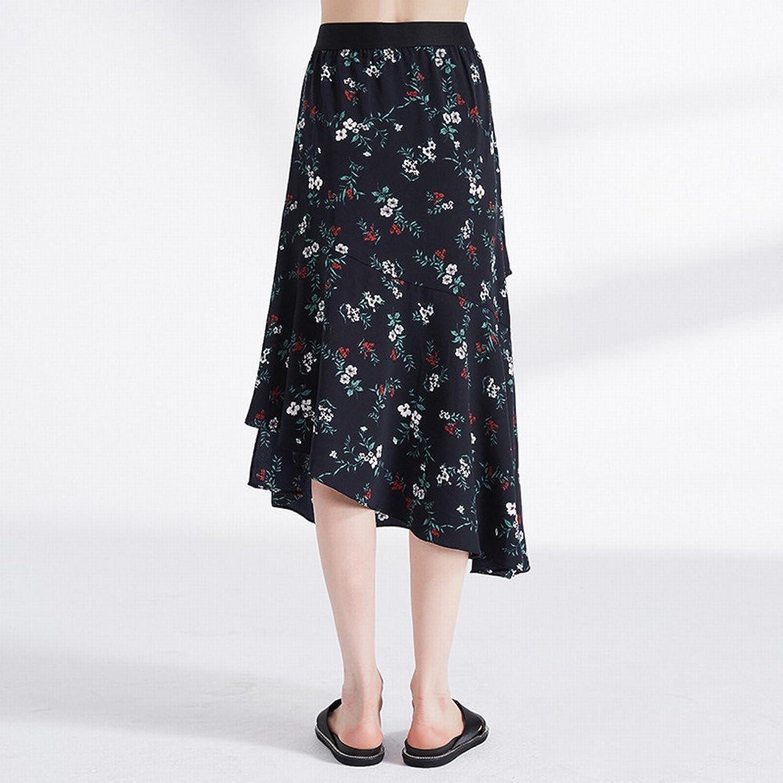 DEED Sweet Department of Floral Wild Irregular Thin Skirt Skirt Temperament Skirt Female