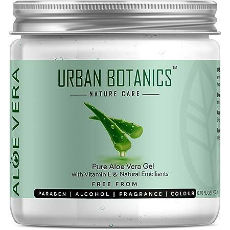 UrbanBotanics® Pure Aloe Vera Skin/Hair Gel With Vitamin E & Natural Emollients (Paraben Free), 200g