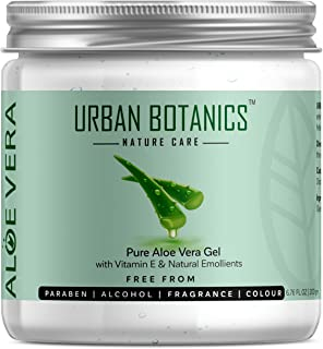 UrbanBotanics® Pure Aloe Vera Skin/Hair Gel With Vitamin E & Natural Emollients (Paraben Free), 200g