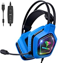 BENGOO USB Pro Gaming Headset for PC PS4, 7.1 Surround Sound Gaming Headphones with Noise Cancelling Mic, in-Line Volume/M...