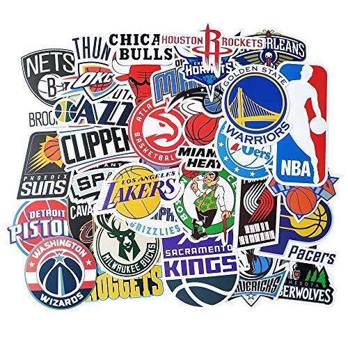 NBA Aufkleber 31 Stück, Vinyl Wasserdicht Sport Fan Decals of National Basketball Association All Teem Logo für Laptop Wasserflasche HydroFlask Fahrrad Motorrad Auto Stoßstange Zimmer Wand Dekoration
