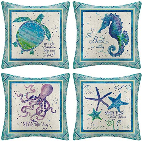 DMGY Cushion Covers Durable Cotton Linen Square Mediterranean Decorative Throw Pillow Covers Home Decorative Pillowcases 18 X18 Inch Set of 4 -Series