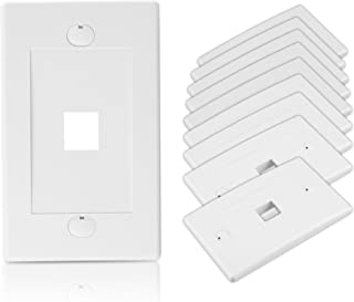 Cable Matters UL Listed 10-Pack 1 Port Keystone Wall Plate (Cat6, Cat5e Ethernet Wall Plate) in White