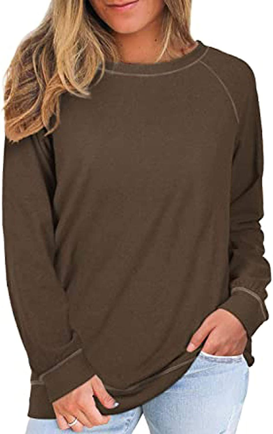 Sweatshirts For Women,Women's Solid Color Long-sleeved Casual Round Neck Large Loose Pullover Sweatshirt Tops