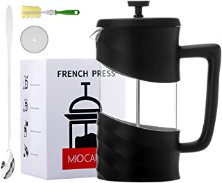 MIOCARO French Press Coffee Maker Set Gift 8 Cup Glass 34 Oz Tea Maker Stainless Steel Plastic Cover