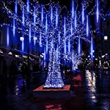 Hawiton Meteor Shower Lights Blue, Outdoor Falling Rain Lights Waterproof- 30cm 10 Tubes 300 LED Icicle Lights Fairy Starbright Solar Led String Light for Christmas Wedding Party Patio Decor