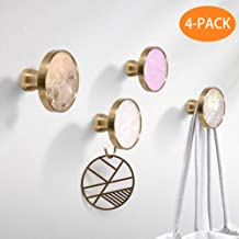 Coat Hook Unique Brass 4 Pack Individual Partition Pole Heavy Duty Wall Mounted Colorful Ornate Crystal Command Knob Decor for Girls Room, Hanging Coats, Scarves, Bags, Towels, Keys