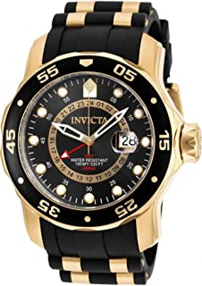 Invicta 6991 Pro Diver Collection GMT Reloj de acero inoxidable chapado en oro de 18 quilates con correa negra para hombre