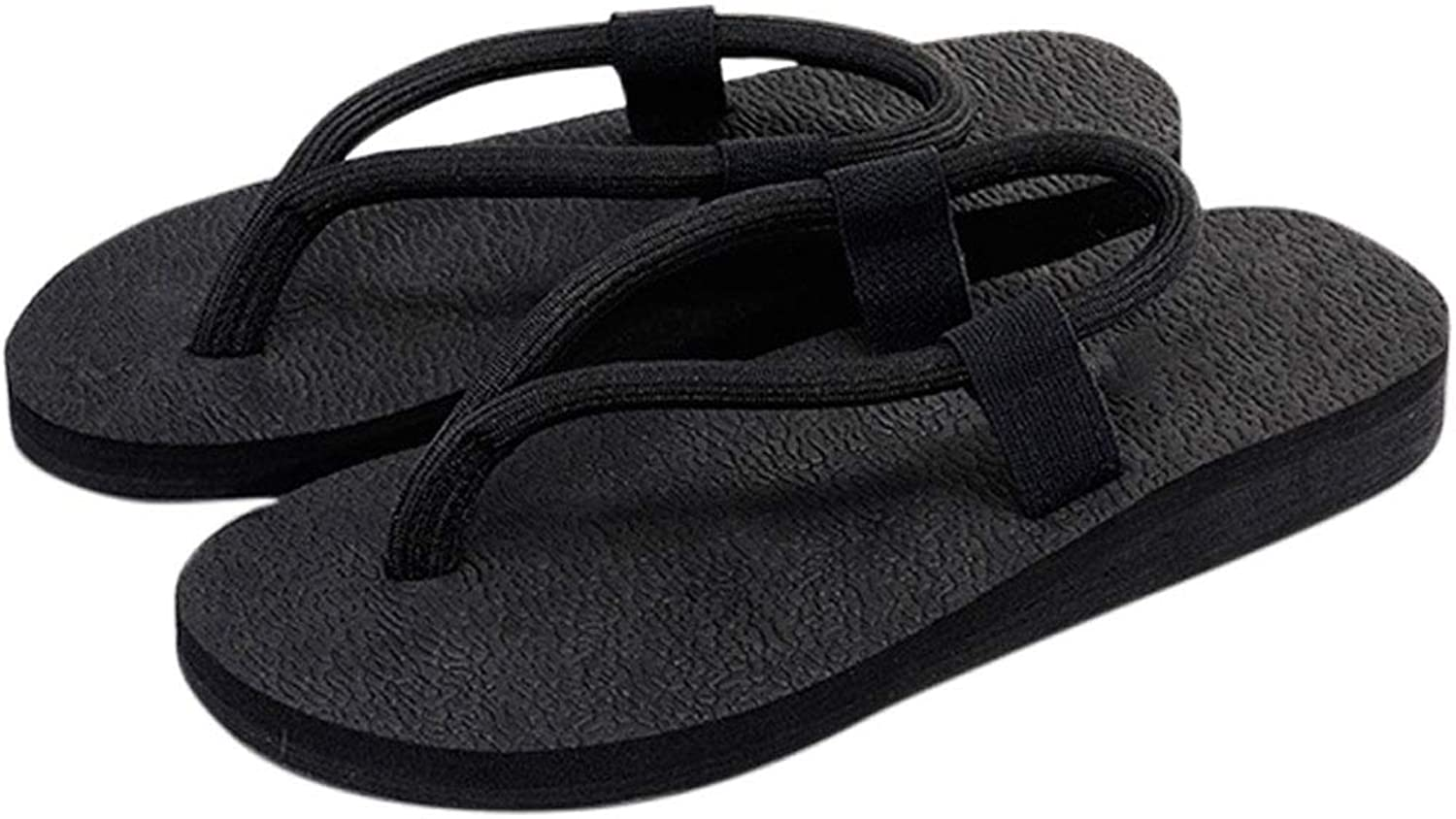 HUYP Black Slippers Female Summer Wear Fashion Beach shoes Flip Flops Female Sandals and Slippers (Size   5.5 US)